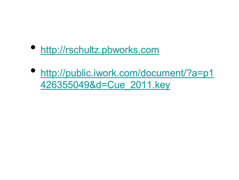 http://rschultz.pbworks.com http://public.iwork.com/document/ a=p1 426355049&d=Cue_2011.key http://public.iwork.com/document/ a=p1 426355049&d=Cue_2011.key