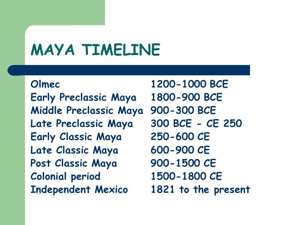MAYA TIMELINE Olmec1200-1000 BCE Early Preclassic Maya 1800-900 BCE Middle Preclassic Maya 900-300 BCE Late Preclassic Maya 300 BCE - CE 250 Early Cla