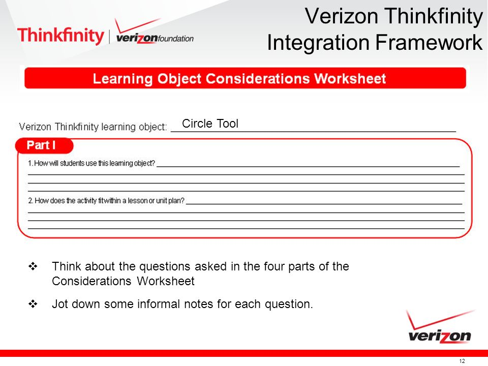 12 Verizon Thinkfinity Integration Framework Circle Tool Think about the questions asked in the four parts of the Considerations Worksheet Jot down some informal notes for each question.