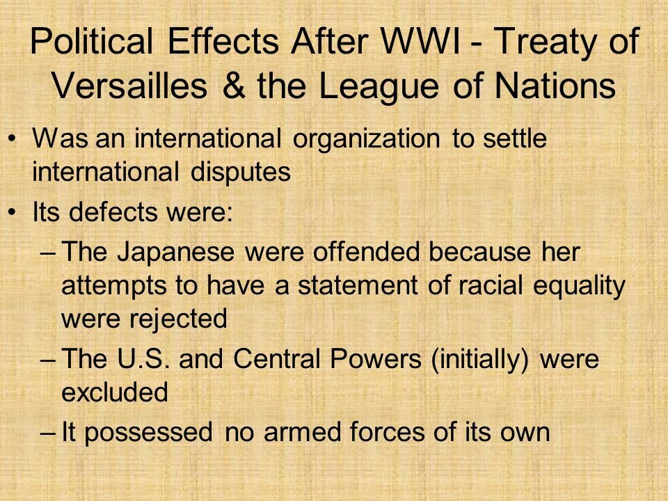 Political Effects After WWI - Treaty of Versailles & the League of Nations Was an international organization to settle international disputes Its defe