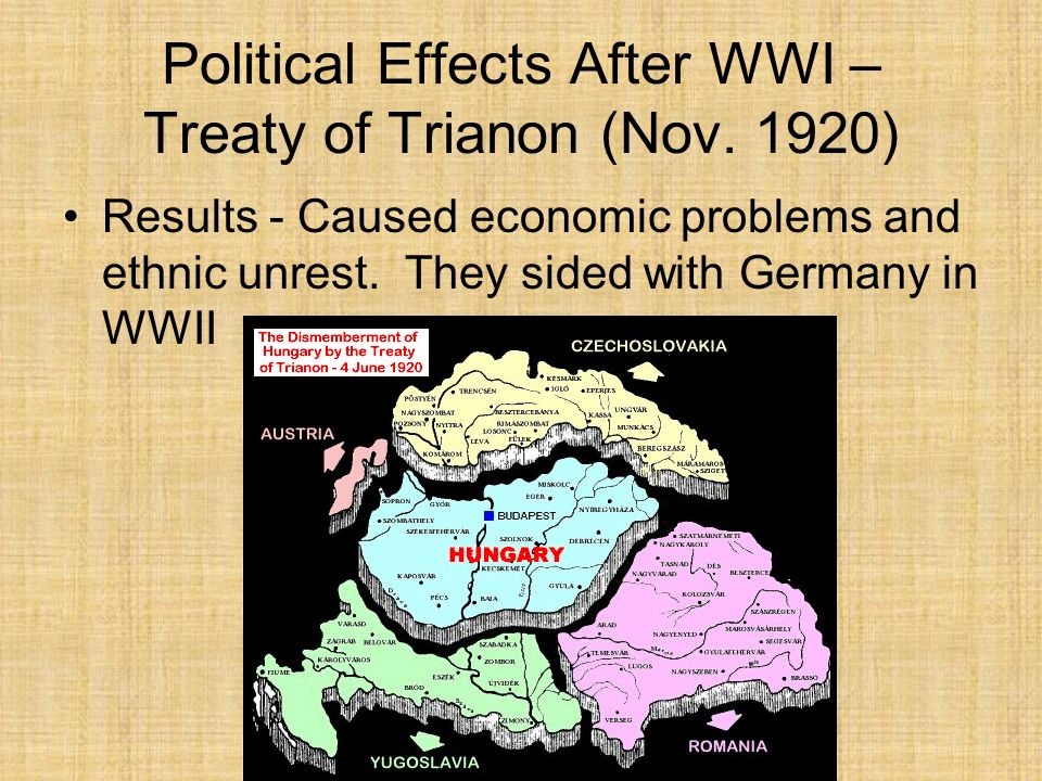 Political Effects After WWI – Treaty of Trianon (Nov. 1920) Results - Caused economic problems and ethnic unrest. They sided with Germany in WWII