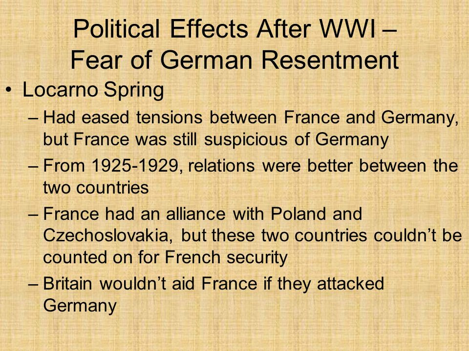Political Effects After WWI – Fear of German Resentment Locarno Spring –Had eased tensions between France and Germany, but France was still suspicious