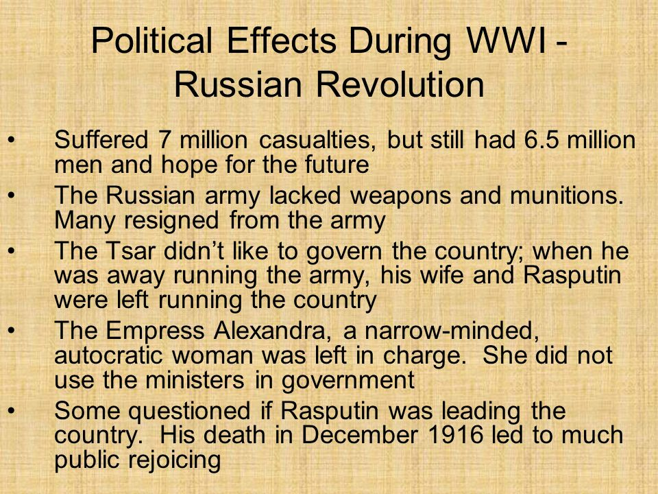 Political Effects During WWI - Russian Revolution In March 1917, Petrograd (St.