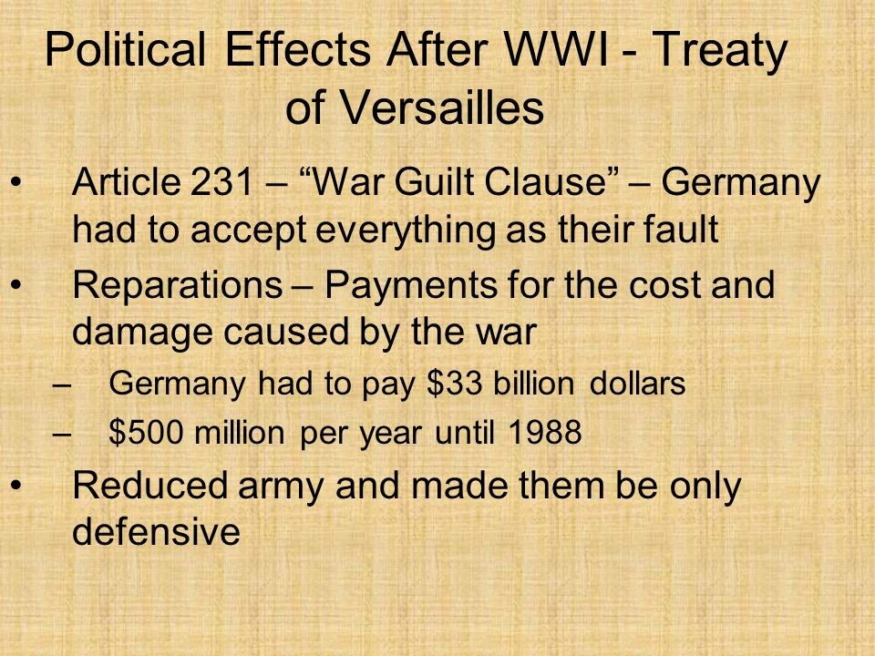Political Effects After WWI - Treaty of Versailles Limited navy No reserves No tanks No subs No long-range artillery No conscription No colonies No unions with other countries Rhineland was to be demilitarized Saar was to be occupied by France for 15 years Poland was given a corridor to the sea with Danzig being the main port Cant train soldiers to be general staff officers