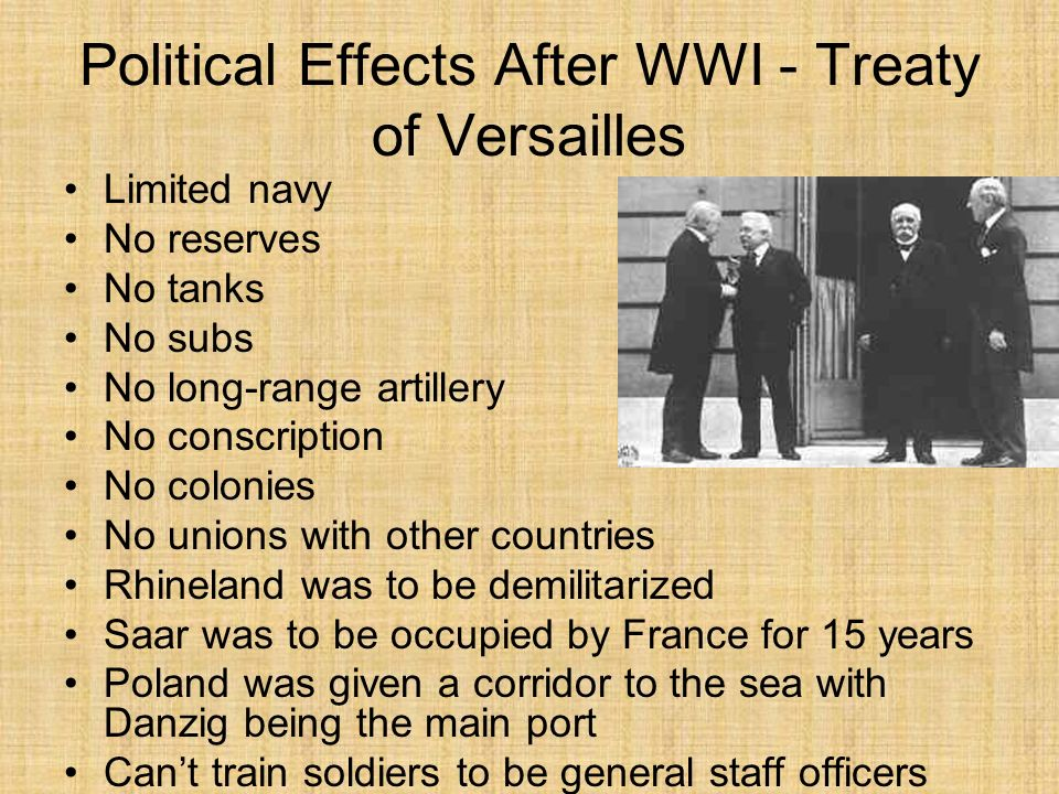 Political Effects After WWI - Stab In the Back & Hitlers Rise The First World War created the Dictator that the world would bitterly come to know He himself admitted this in 1941, saying: When I returned from the War, I brought back home with me my experiences at the front; out of them I built my National Socialist community