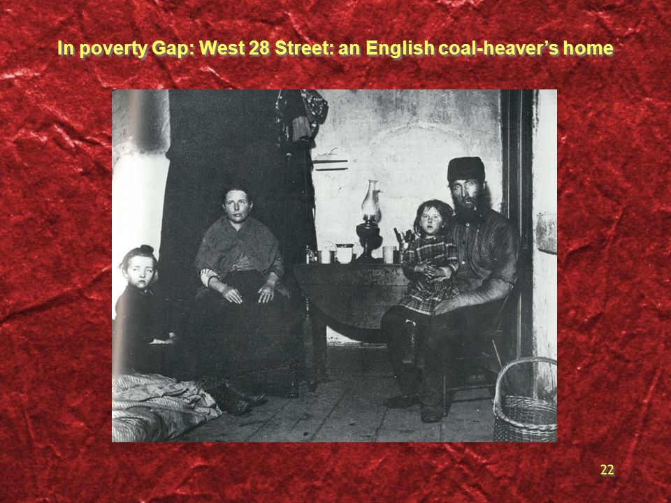 22 In poverty Gap: West 28 Street: an English coal-heavers home