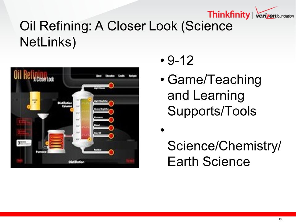 19 Oil Refining: A Closer Look (Science NetLinks) 9-12 Game/Teaching and Learning Supports/Tools Science/Chemistry/ Earth Science