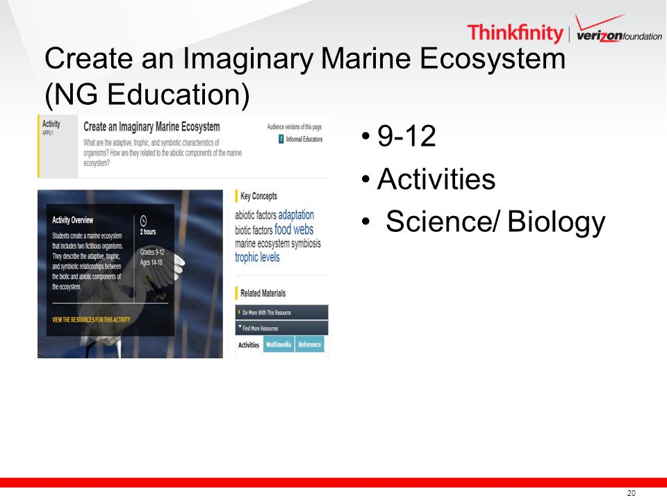 20 Create an Imaginary Marine Ecosystem (NG Education) 9-12 Activities Science/ Biology