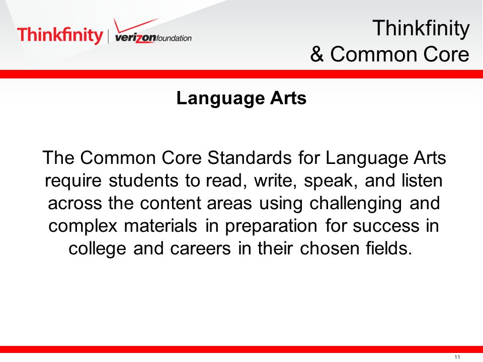 11 Thinkfinity & Common Core The Common Core Standards for Language Arts require students to read, write, speak, and listen across the content areas u
