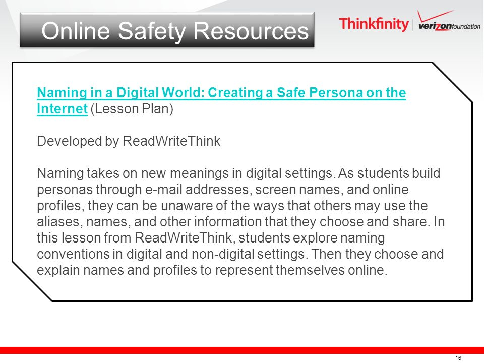 16 Online Safety Resources Naming in a Digital World: Creating a Safe Persona on the InternetNaming in a Digital World: Creating a Safe Persona on the
