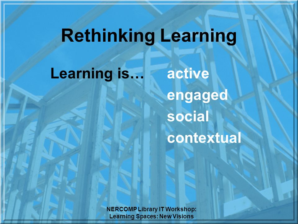 NERCOMP Library IT Workshop: Learning Spaces: New Visions Rethinking Learning Learning is… active engaged social contextual