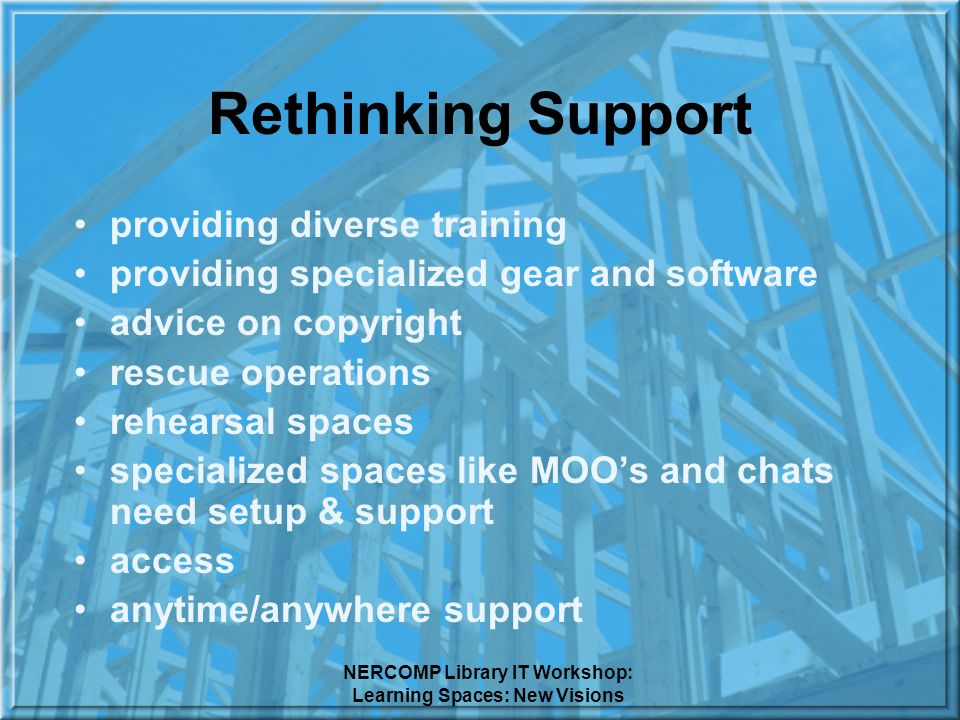NERCOMP Library IT Workshop: Learning Spaces: New Visions Rethinking Support providing diverse training providing specialized gear and software advice on copyright rescue operations rehearsal spaces specialized spaces like MOOs and chats need setup & support access anytime/anywhere support