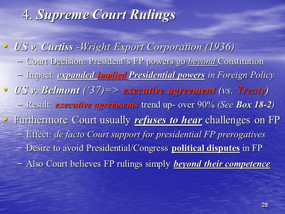 28 4. Supreme Court Rulings US v. Curtiss -Wright Export Corporation (1936) US v. Curtiss -Wright Export Corporation (1936) – Court Decision: Presiden