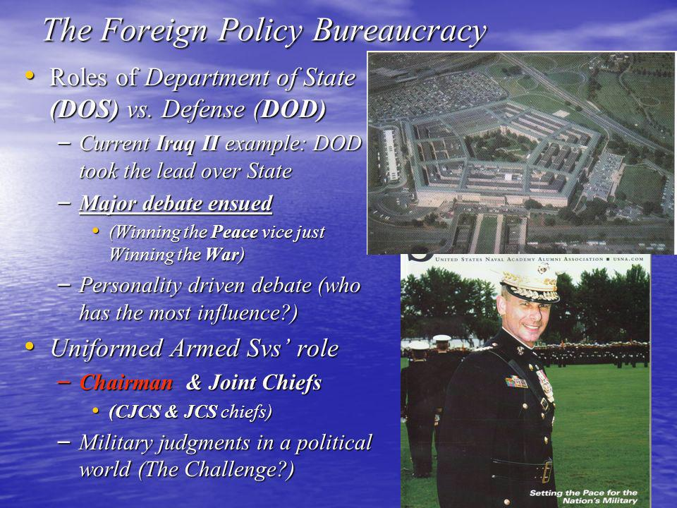 36 The Foreign Policy Bureaucracy Roles of Department of State (DOS) vs. Defense (DOD) Roles of Department of State (DOS) vs. Defense (DOD) – Current