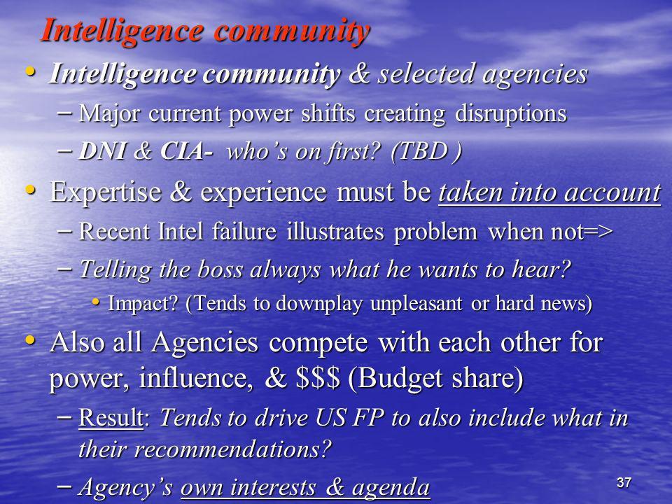 37 Intelligence community Intelligence community & selected agencies Intelligence community & selected agencies – Major current power shifts creating