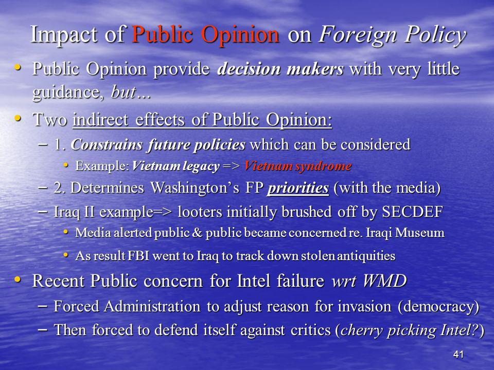 41 Impact of Public Opinion on Foreign Policy Public Opinion provide decision makers with very little guidance, but… Public Opinion provide decision m