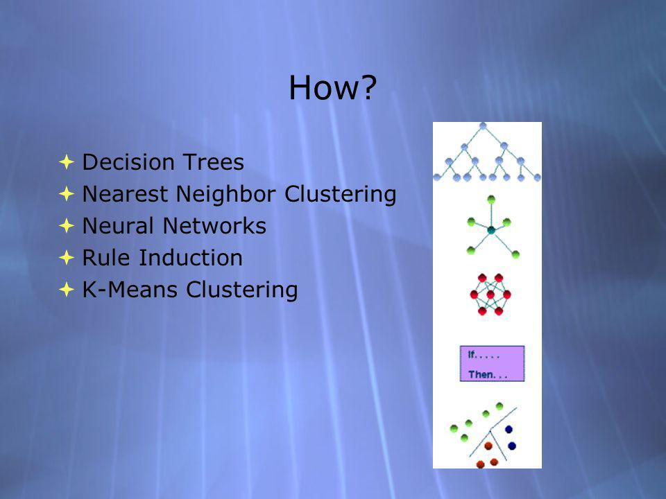 How? Decision Trees Nearest Neighbor Clustering Neural Networks Rule Induction K-Means Clustering Decision Trees Nearest Neighbor Clustering Neural Ne