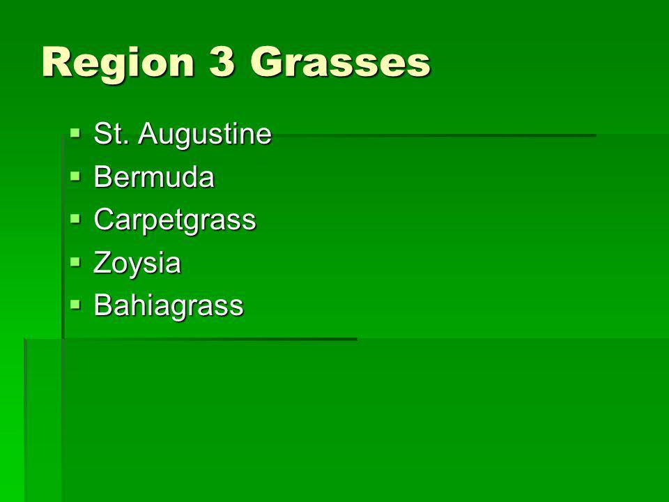 Region 3 Grasses St. Augustine St. Augustine Bermuda Bermuda Carpetgrass Carpetgrass Zoysia Zoysia Bahiagrass Bahiagrass