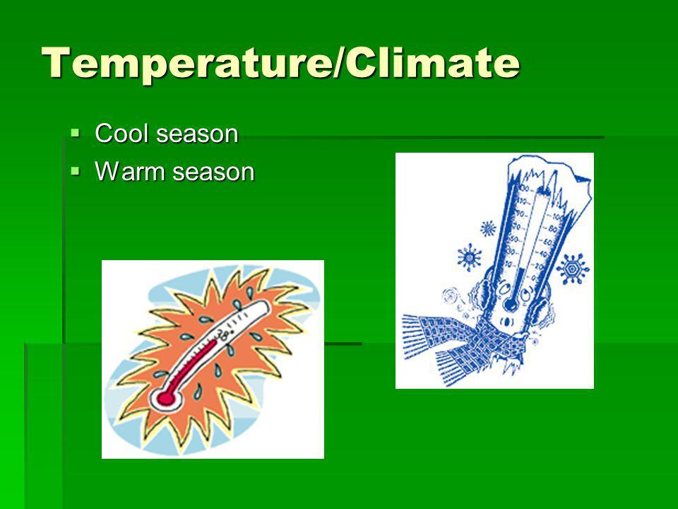 Temperature/Climate Cool season Cool season Warm season Warm season