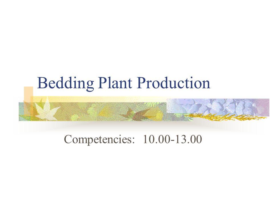 Bedding Plant Production Competencies: 10.00-13.00