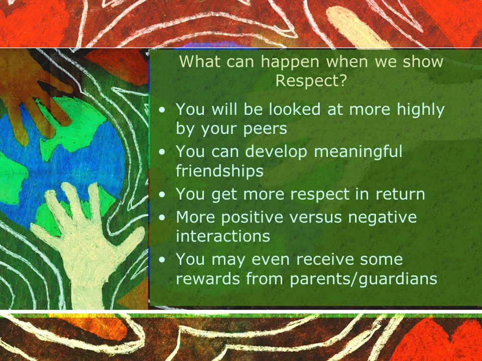 Who should we show Respect to? EVERYBODY! Yourself Teachers Parents Brothers and Sisters Classmates