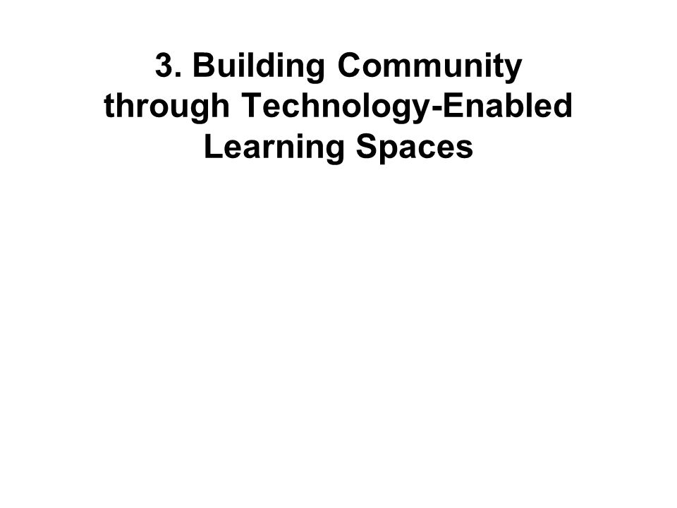 3. Building Community through Technology-Enabled Learning Spaces