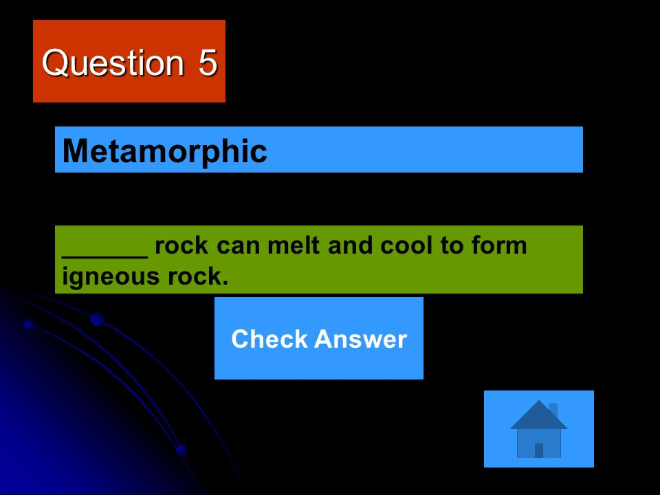 Question 5 ______ rock can melt and cool to form igneous rock. Metamorphic Check Answer