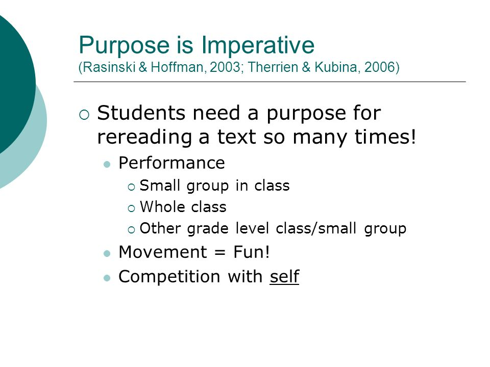 Purpose is Imperative (Rasinski & Hoffman, 2003; Therrien & Kubina, 2006) Students need a purpose for rereading a text so many times.
