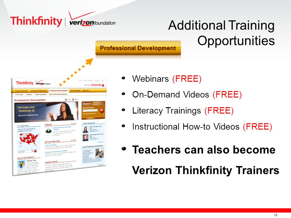 18 º Webinars (FREE) º On-Demand Videos (FREE) º Literacy Trainings (FREE) º Instructional How-to Videos (FREE) º Teachers can also become Verizon Thinkfinity Trainers Additional Training Opportunities