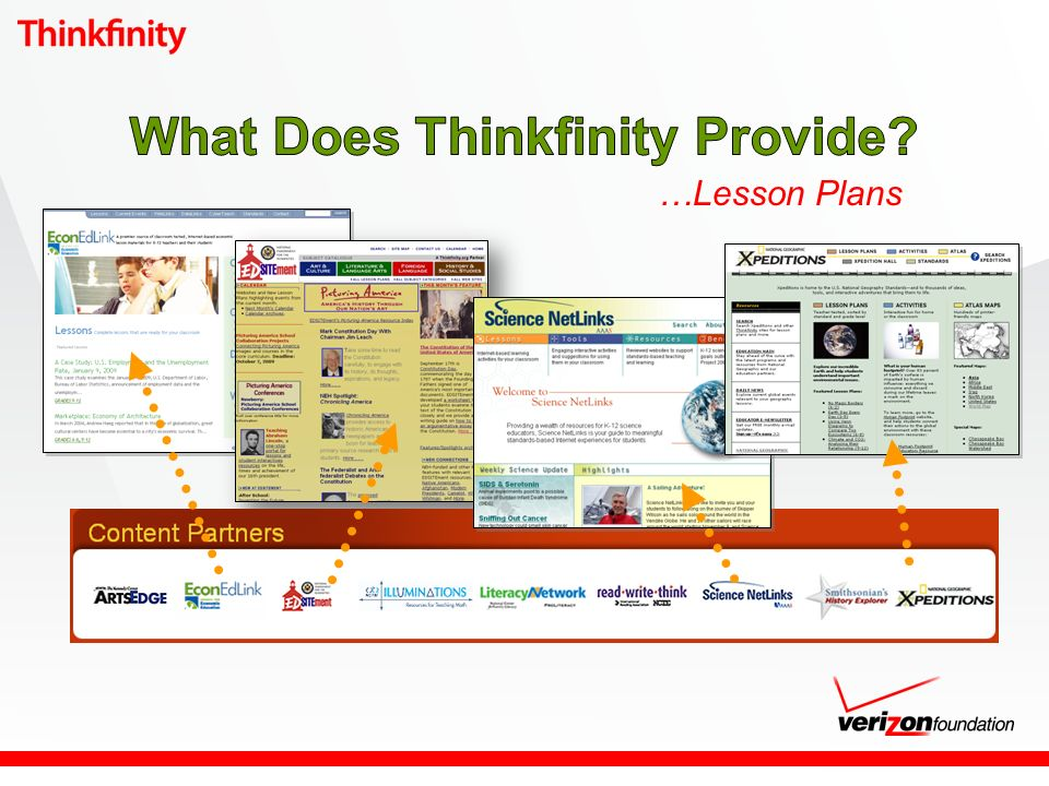 Thinkfinity Literacy Network s free online courses (50) http://literacynetwork.verizon.org/tln/courses Teachers, tutors and volunteers Building Comprehension: Strategies for Adolescent and Adult Readers Building Readers: A Guide for Child Care Providers Citizenship: The Civics Test Let s Read Math