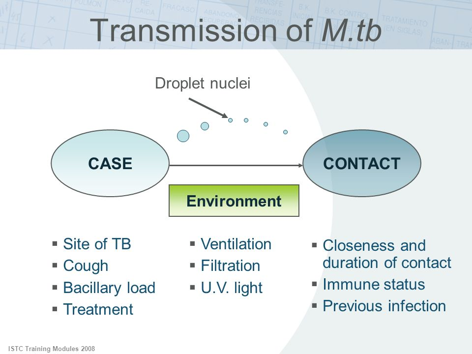 ISTC Training Modules 2008 Transmission of M.tb CASECONTACT Site of TB Cough Bacillary load Treatment Closeness and duration of contact Immune status Previous infection Ventilation Filtration U.V.