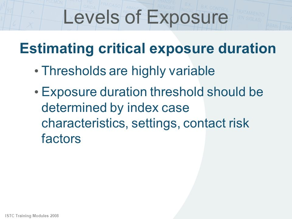 ISTC Training Modules 2008 Levels of Exposure Estimating critical exposure duration Thresholds are highly variable Exposure duration threshold should be determined by index case characteristics, settings, contact risk factors