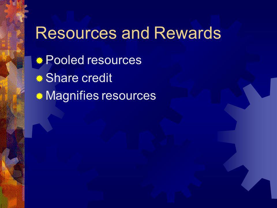 Resources and Rewards Pooled resources Share credit Magnifies resources