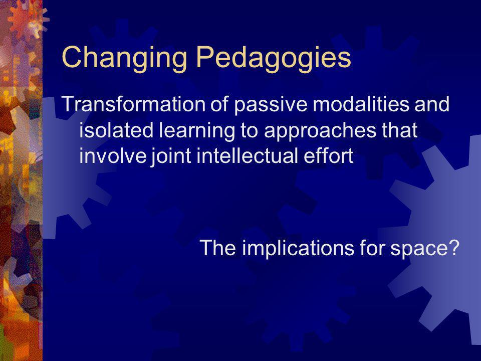 Changing Pedagogies Transformation of passive modalities and isolated learning to approaches that involve joint intellectual effort The implications f