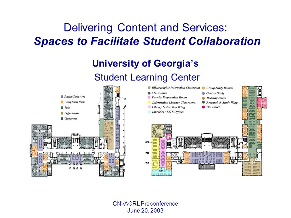 CNI/ACRL Preconference June 20, 2003 Delivering Content and Services: Spaces to Facilitate Student Collaboration University of Georgias Student Learning Center
