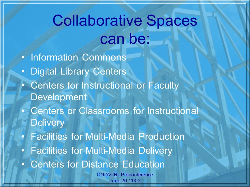 CNI/ACRL Preconference June 20, 2003 Goals of Collaborative Spaces: Institute collaboration among various units or professional groups in planning and staffing Deliver content and services related to digital technology (networking)