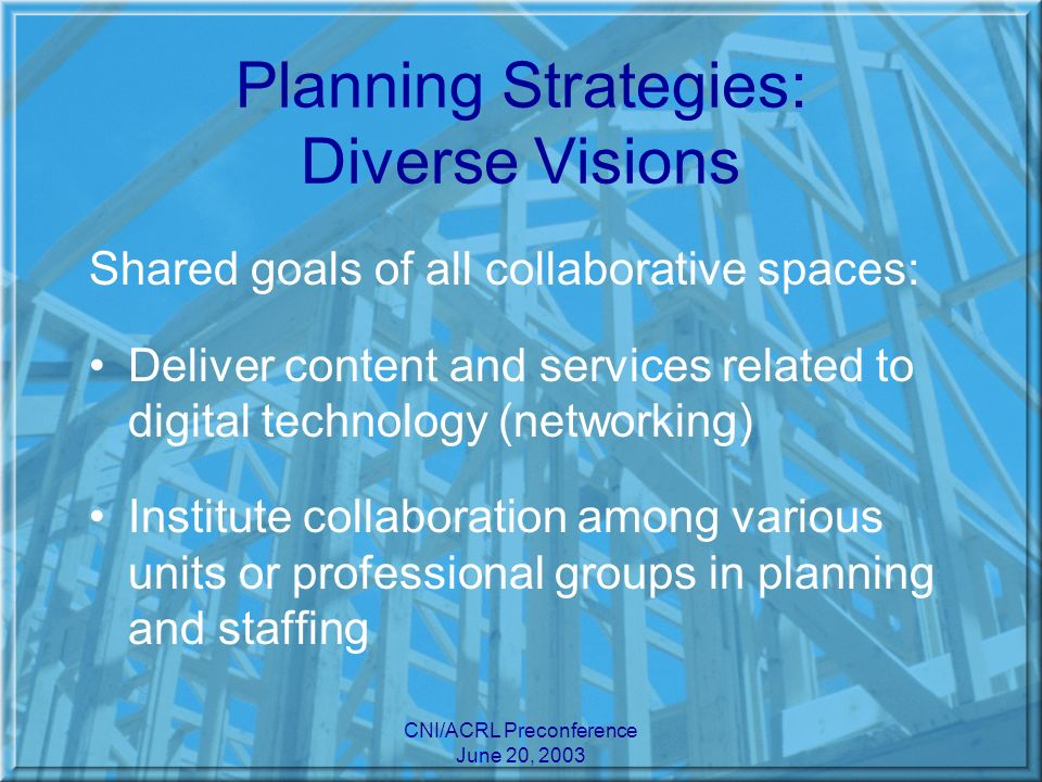 CNI/ACRL Preconference June 20, 2003 Planning Strategies: Diverse Visions Shared goals of all collaborative spaces: Deliver content and services related to digital technology (networking) Institute collaboration among various units or professional groups in planning and staffing