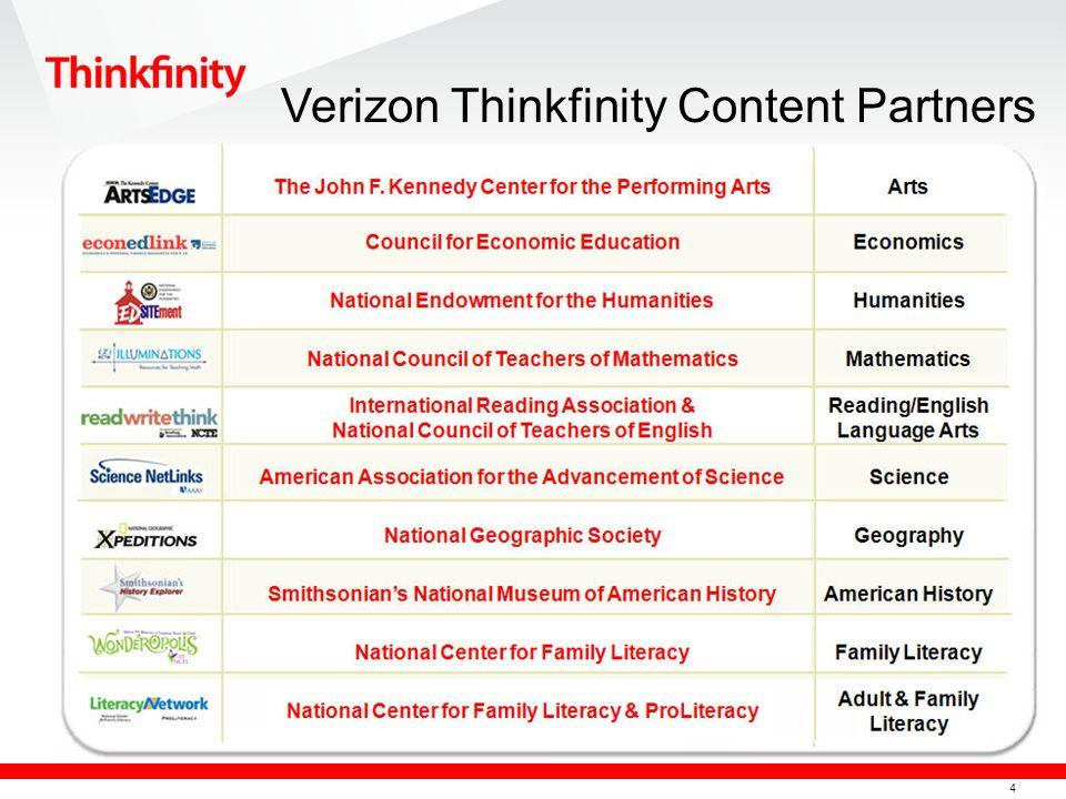4 Verizon Thinkfinity Content Partners