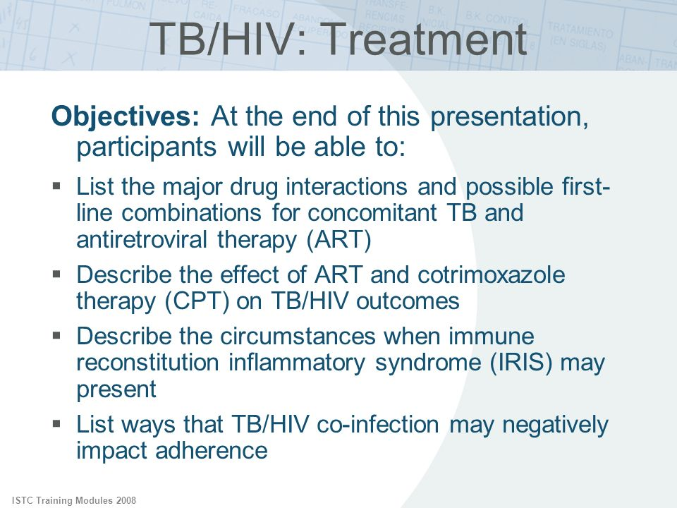 ISTC Training Modules 2008 Objectives: At the end of this presentation, participants will be able to: List the major drug interactions and possible fi