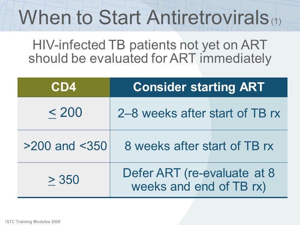 ISTC Training Modules 2008 CD4Consider starting ART < 200 2–8 weeks after start of TB rx >200 and <3508 weeks after start of TB rx > 350 Defer ART (re