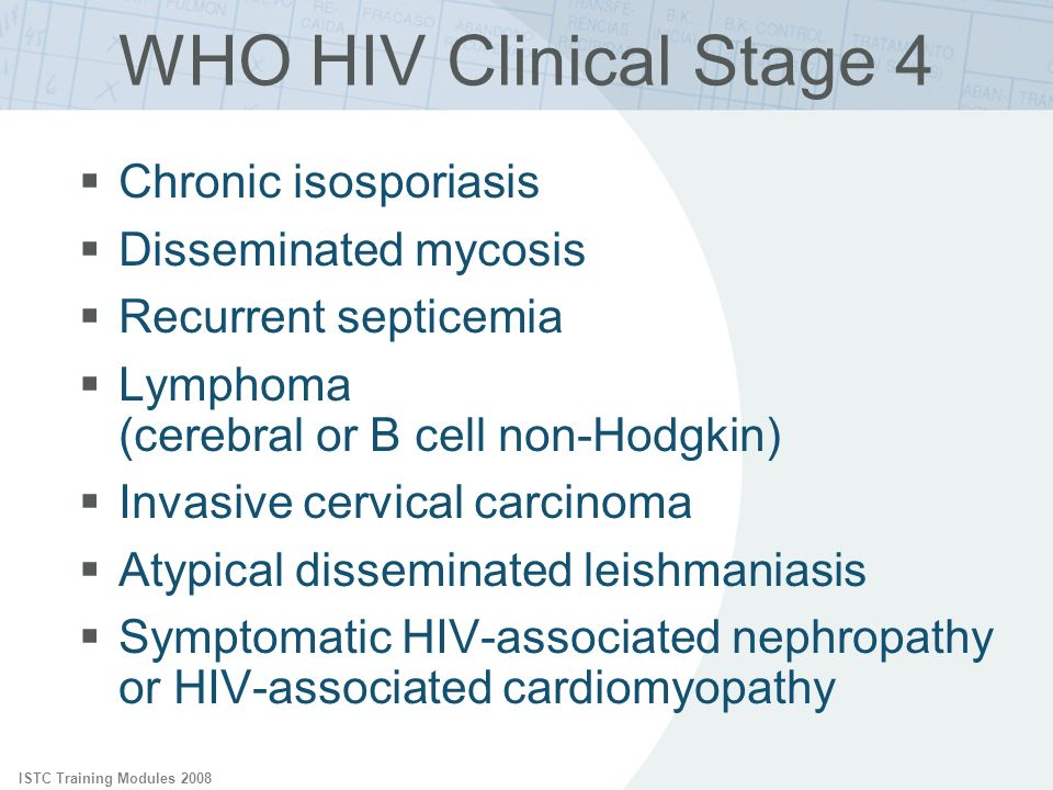 ISTC Training Modules 2008 WHO HIV Clinical Stage 4 Chronic isosporiasis Disseminated mycosis Recurrent septicemia Lymphoma (cerebral or B cell non-Ho