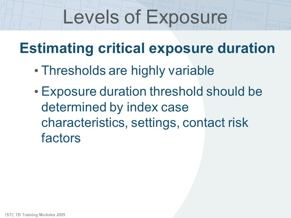 ISTC TB Training Modules 2009 Levels of Exposure Estimating critical exposure duration Thresholds are highly variable Exposure duration threshold should be determined by index case characteristics, settings, contact risk factors