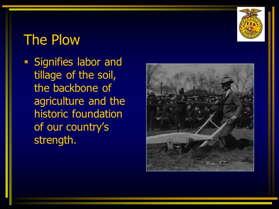 The Plow Signifies labor and tillage of the soil, the backbone of agriculture and the historic foundation of our countrys strength.