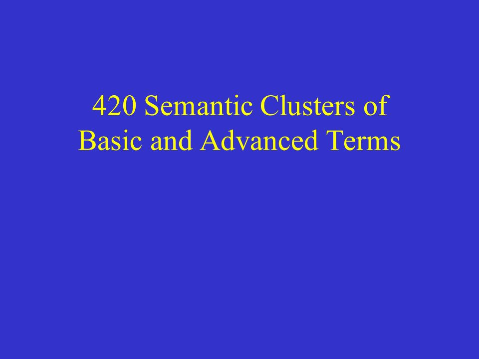 420 Semantic Clusters of Basic and Advanced Terms