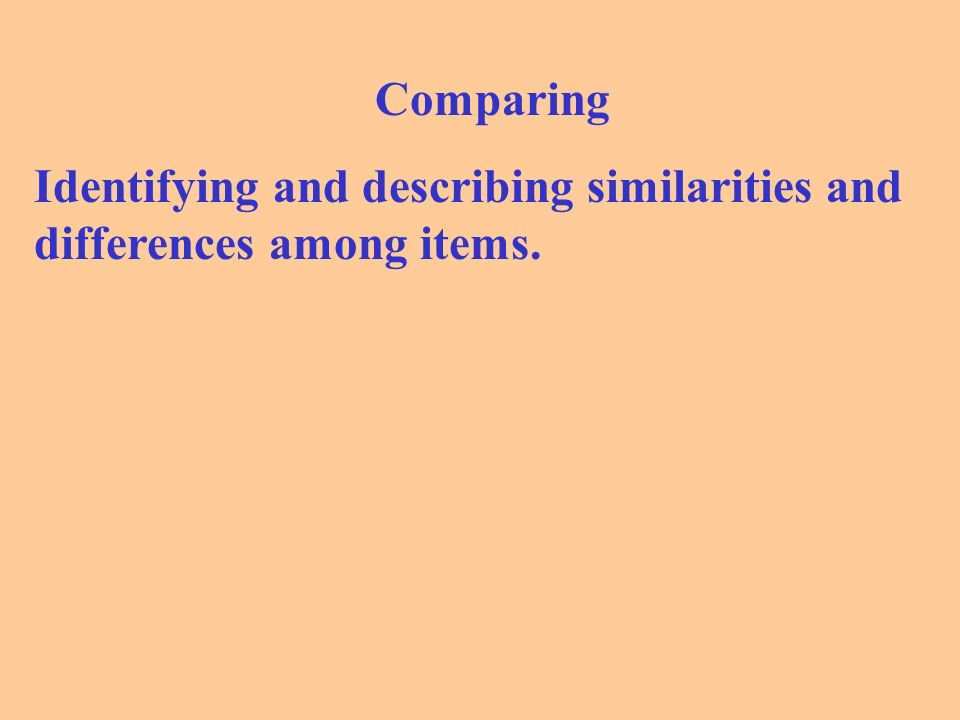 Comparing Identifying and describing similarities and differences among items.