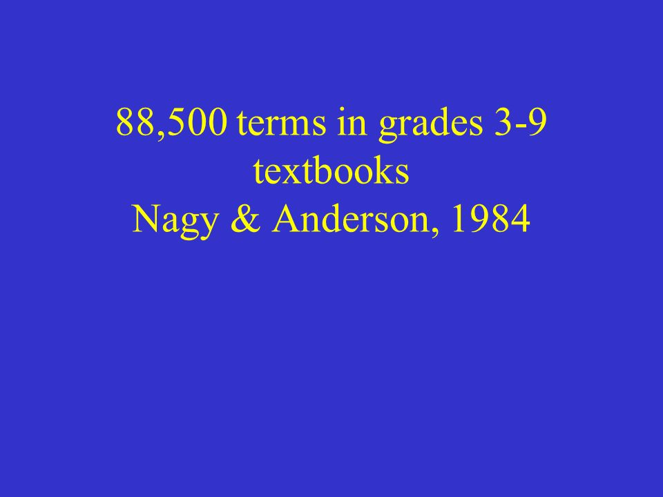 88,500 terms in grades 3-9 textbooks Nagy & Anderson, 1984
