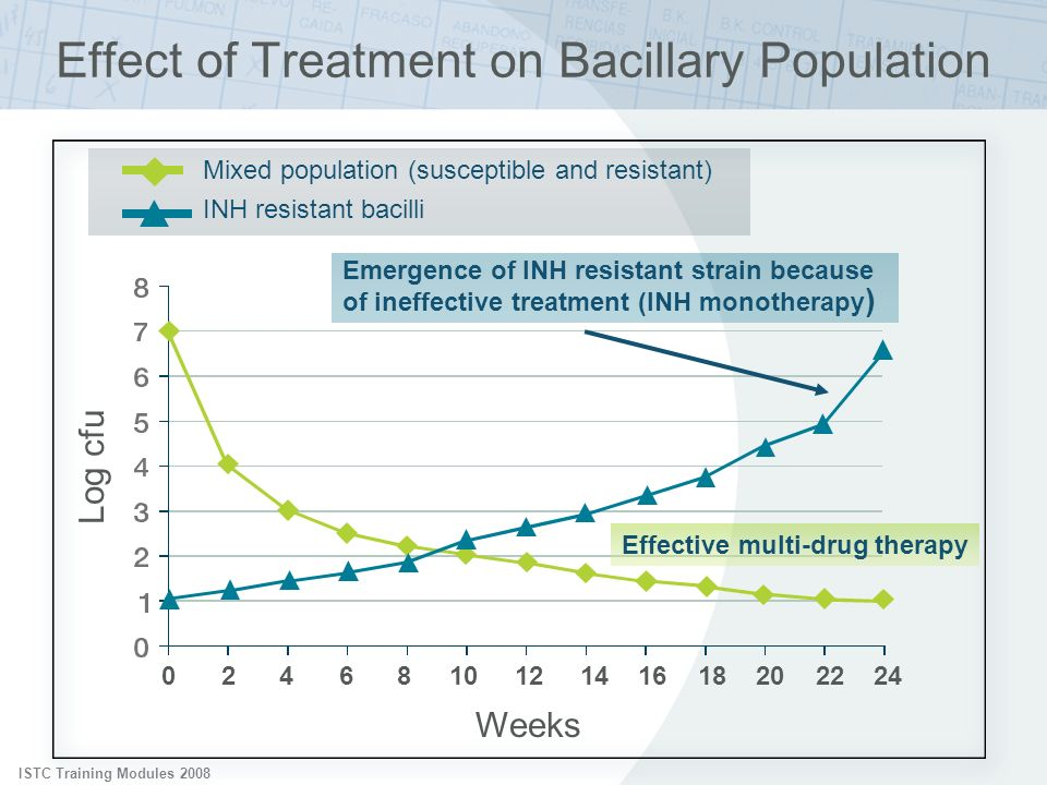 ISTC Training Modules 2008 Mixed population (susceptible and resistant) INH resistant bacilli Emergence of INH resistant strain because of ineffective