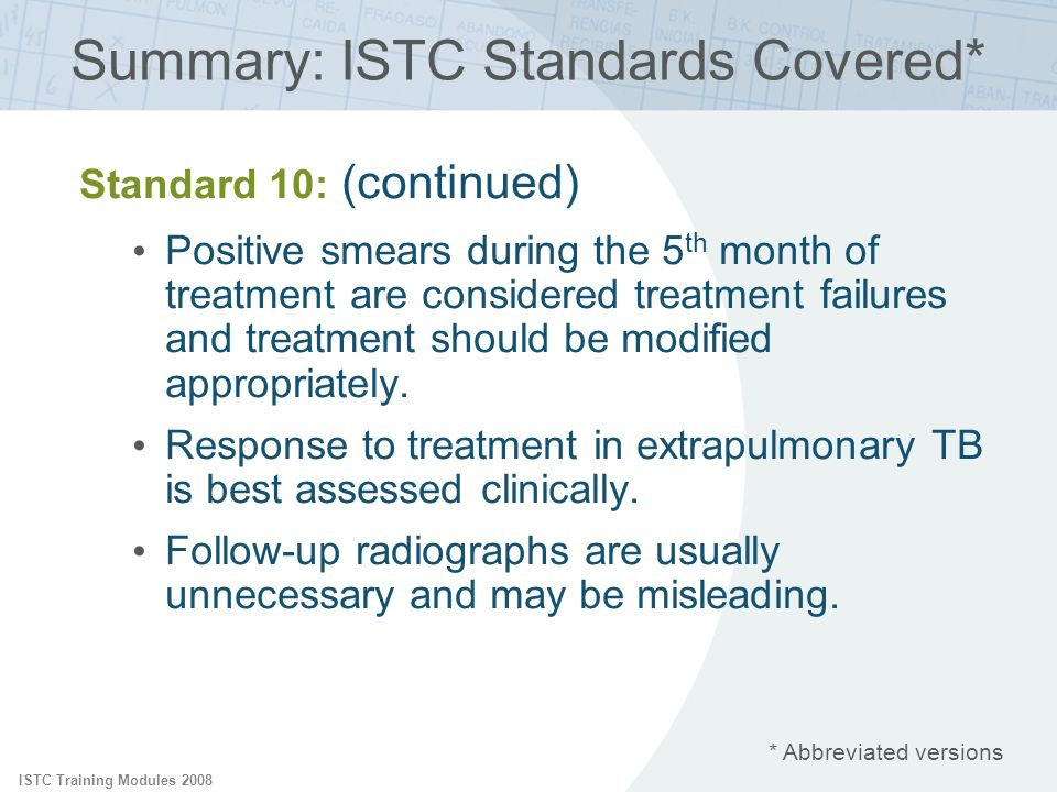 ISTC Training Modules 2008 Standard 10: (continued) Positive smears during the 5 th month of treatment are considered treatment failures and treatment