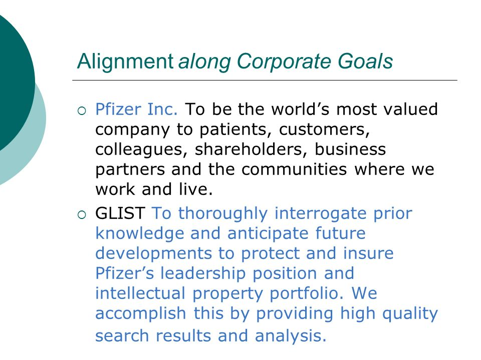 Alignment along Corporate Goals Pfizer Inc. To be the worlds most valued company to patients, customers, colleagues, shareholders, business partners a