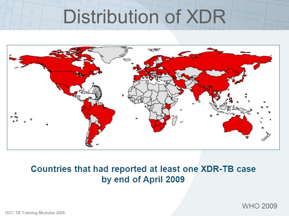 ISTC TB Training Modules 2009 WHO 2009 Distribution of XDR Countries that had reported at least one XDR-TB case by end of April 2009